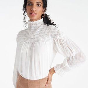 NWT Ann Taylor white smocked high neck blouse